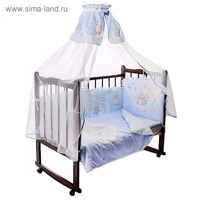 """Комплект в кроватку """"Степашка"""", 7 предметов, цвет голубой"""