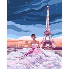Алмазная вышивка с полным заполнением «Девушка в Париже» 50х60 см