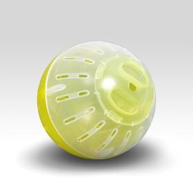 Шар для грызунов, 10 см, жёлтый/прозрачный (цветная крышка)
