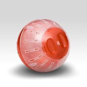 Шар для грызунов, 10 см, красный/прозрачный (цветная крышка)