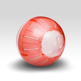 Шар для грызунов, 12 см, прозрачный/красный (прозрачная крышка)