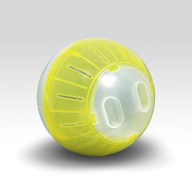 Шар для грызунов, 14 см, прозрачный/жёлтый (прозрачная крышка)