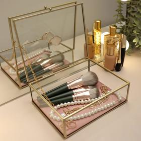 Органайзер для косметических принадлежностей «Кристалл», с крышкой, 1 секция, 20 × 16,8 × 9 см, цвет прозрачный/медный/розовый