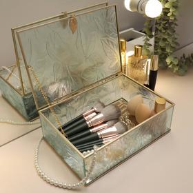 Органайзер для косметических принадлежностей «Осень», с крышкой, 1 секция, 25 × 18,3 × 8,6 см, цвет прозрачный/медный