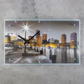 """Часы настенные прямоугольные """"Ночной город"""", стекло, 35х60 см"""