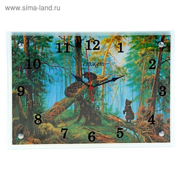 """Часы настенные прямоугольные """"Медведи в лесу"""", 25х35 см"""