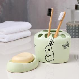 Набор для ванной «Зайцы», 2 предмета (подставка для щёток, мыльница), цвет ментол, деколь микс