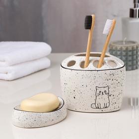 Набор для ванной «Котики», 2 предмета (подставка для щёток, мыльница), цвет белый, деколь микс