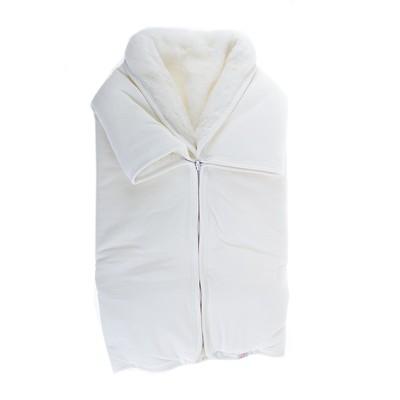 Плед-конверт велюровый с мехом, размер 90*90 см, цвет бежевый 30023