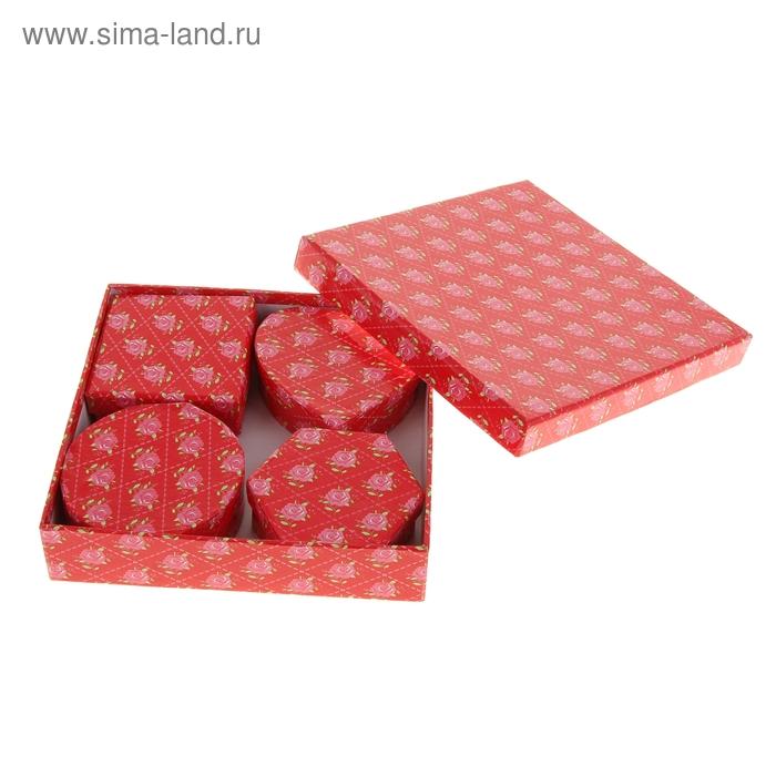 """Набор коробок 5в1 """"Королевский цветок"""", цвет красный"""