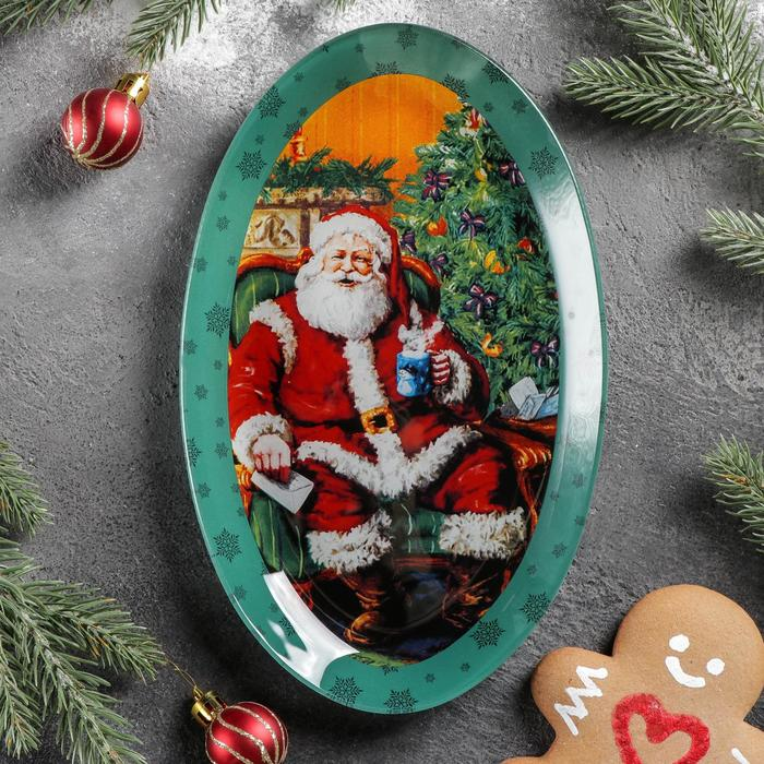Блюдо Доляна «Счастливый Санта», овальное, 24,5×15×2 см