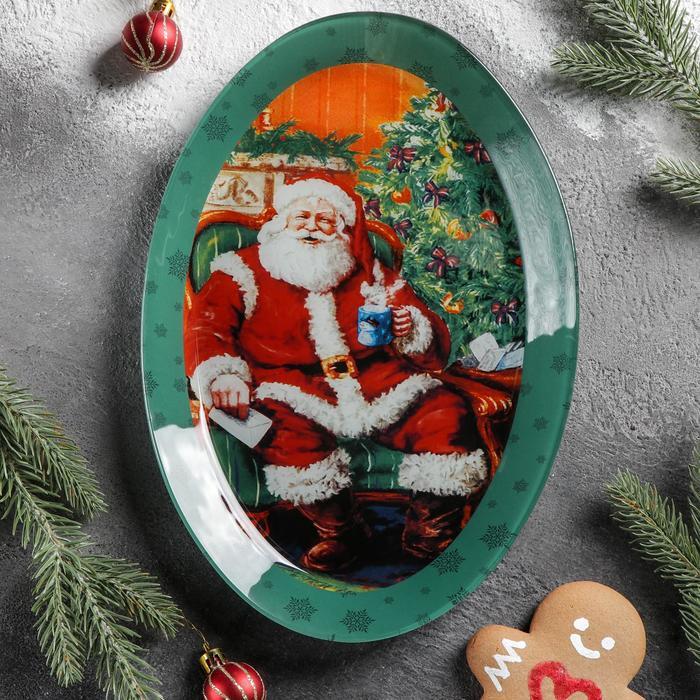Блюдо Доляна «Счастливый Санта», овальное, 29,5×20,3×2,1 см