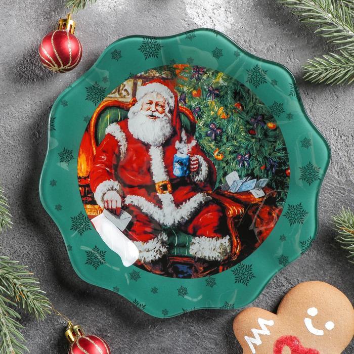 Тарелка десертная «Счастливый Санта», d=20 см