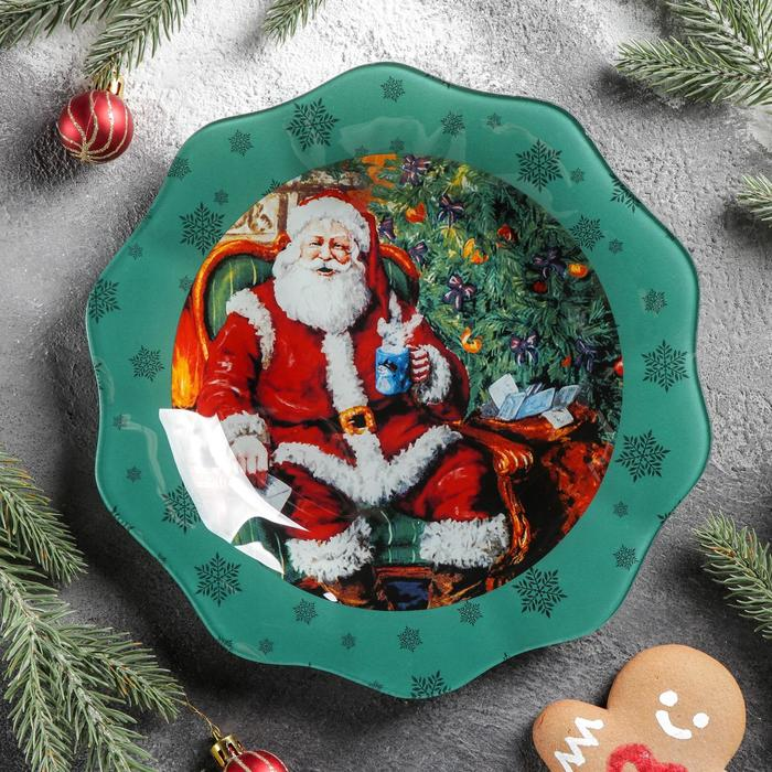 Тарелка обеденная «Счастливый Санта», d=25 см