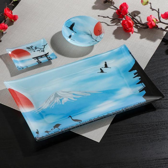 Набор для суши Доляна «Журавль», 3 предмета: соусники 8×2 см, 8×6 см, подставка 25×15 см