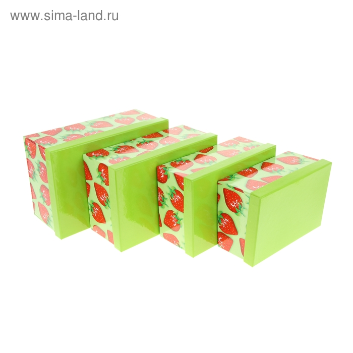"""Набор коробок 4в1 """"Клубничка"""", цвет зелёный"""