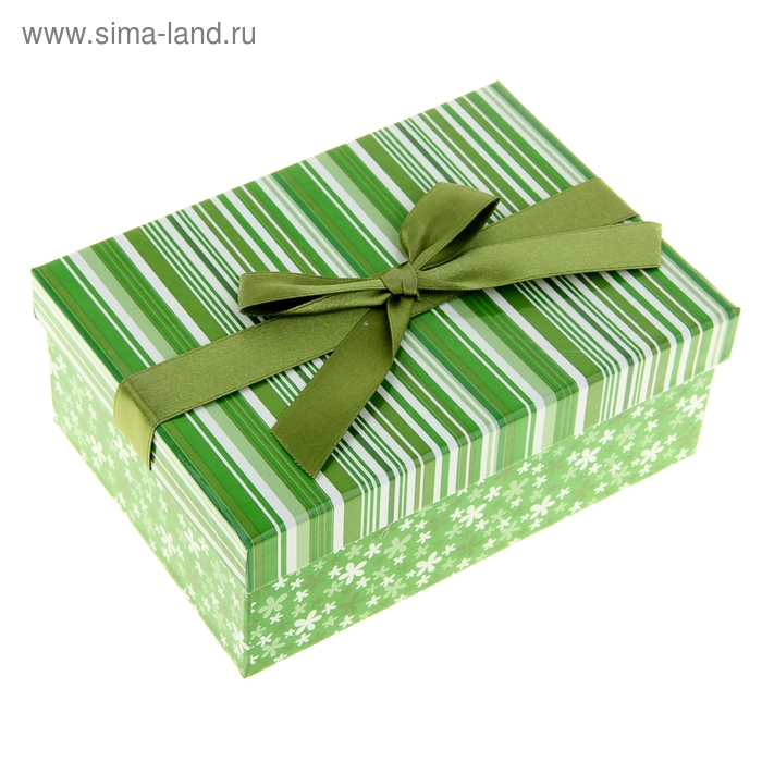"""Коробка подарочная """"Розы и полосочки"""", цвет зеленый"""