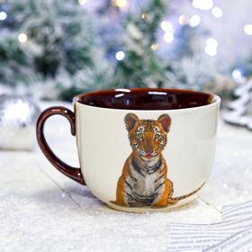 """Кружка """"Аппетитка с тигром"""" бело-коричневая, символ года 2022, деколь, 0.5 л, микс"""