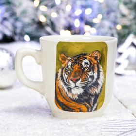 """Кружка """"Сумская с тигром"""" белая, символ года 2022, деколь, 0.35 л, микс"""