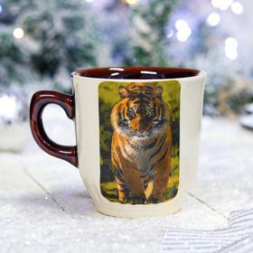 """Кружка """"Сумская с тигром"""" бело-коричневая, символ года 2022, деколь, 0.35 л, микс"""