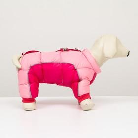 Комбинезон принтованный с замком на спине,размер 14 (ДС 32 см,ОГ 42 см,ОШ 31 см),розовый