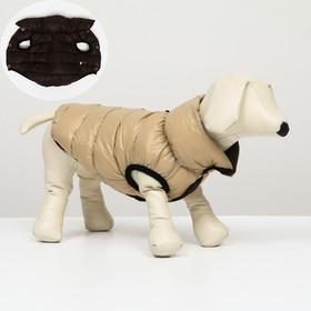 Куртка для собак двухсторонняя с воротником, XL (ДС 72, ОШ 68, ОГ 92), бежевая/коричневая