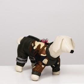 """Комбинезон для собак """"Камуфляж"""", размер 14 (ДС 32, ОГ 42, ОШ 31 см), тёмно-зелёный"""