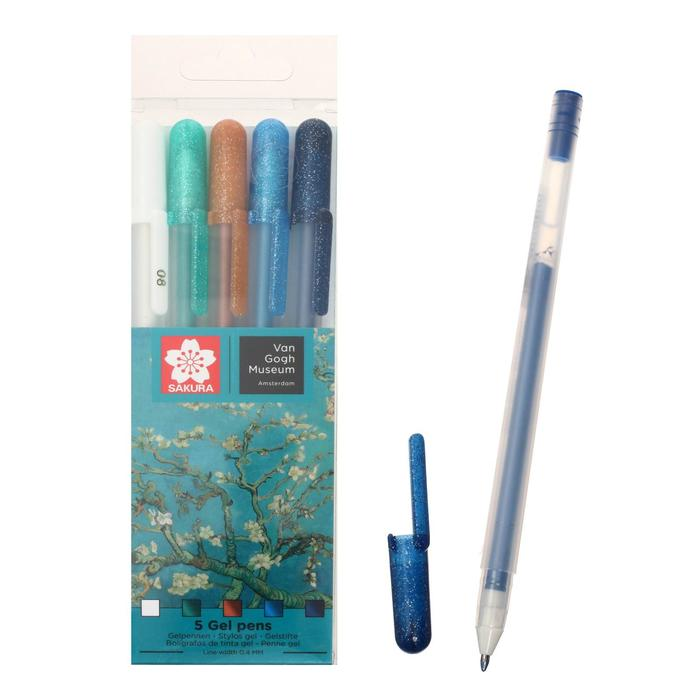 Ручка гелевая для декоративных работ набор 5 цветов Sakura Gelly Roll Van Gogh Museum 0.8 (0.4 мм)