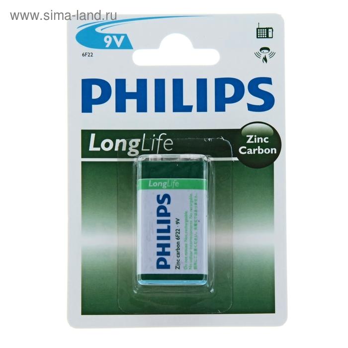 Батарейка  солевая Philips крона блистер 6F22-1BL LONG LIFE