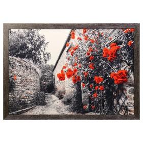 """Картина велюр """"Кусты красных роз"""" 100х70 (105х74) см"""