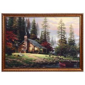 """Картина велюр """"Охотничий домик"""" 100х70 (107х77)см"""