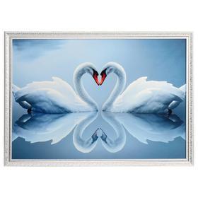 "Картина велюр ""Пара белых лебедей"" 100х70 (107х77)см"