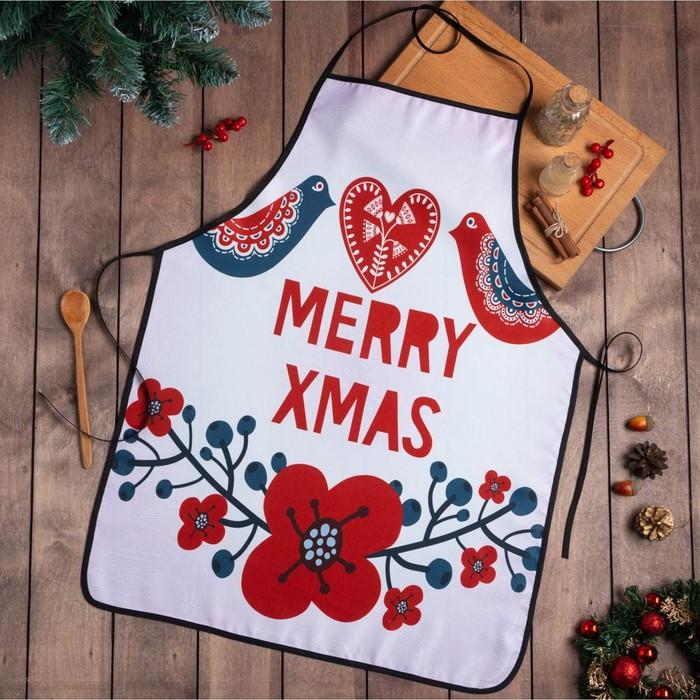 """Фартук Доляна """"Merry Xmas"""" 55х72см, 100%пэ"""