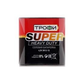 """Батарейка солевая """"Трофи"""" Super Heavy Duty, 3R12-1S, 4.5В, спайка, 1 шт."""