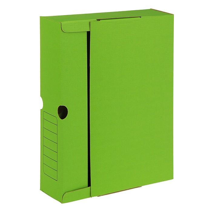 Короб архивный А4, 75мм, микрогофрокартон, картонный клапан, зелёный