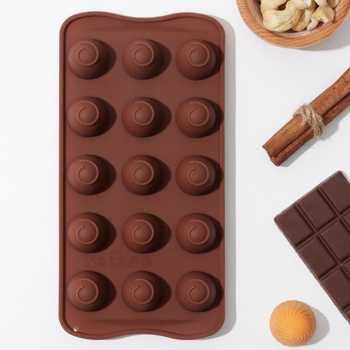 Форма для льда и кондитерских украшений Доляна «Рондо», 21×10,5×3 см, 15 ячеек, цвет шоколадный