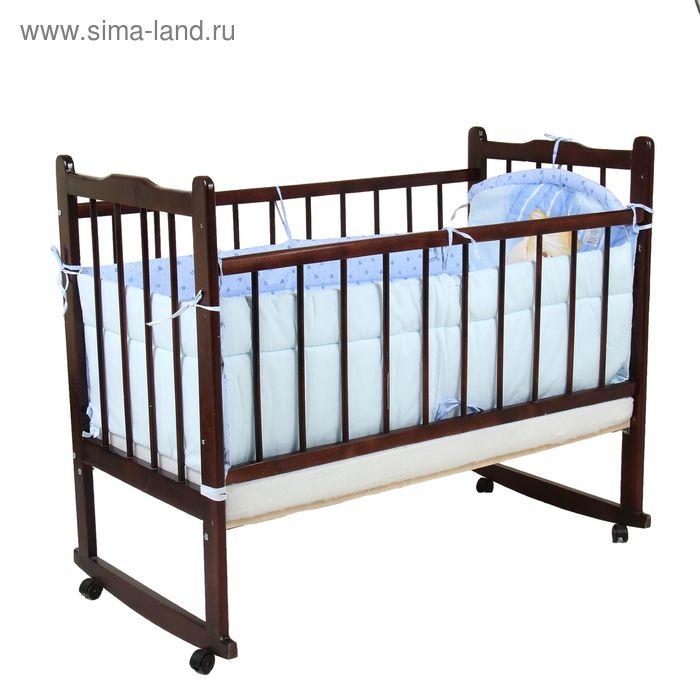"""Бампер """"Мишутка"""", 4 части (2 части: 45х120 см, 2 части 45х60 см), цвет голубой (арт. 4042)"""