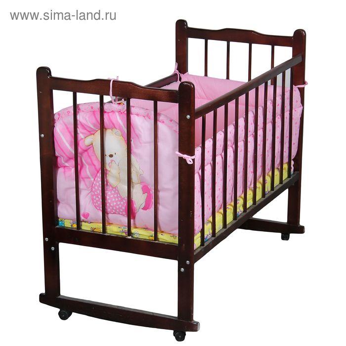 "Бампер ""Мишутка"", 4 части (2 части: 45х120 см, 2 части 45х60 см), цвет розовый (арт. 4046)"
