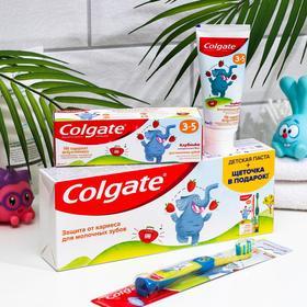 Набор Colgate зубная паста для детей со вкусом клубники 60 мл + зубная щётка супермягкая