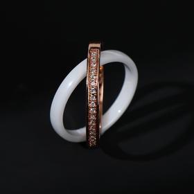 """Кольцо керамика """"Дабл"""", цвет белый в золоте, 17 размер"""