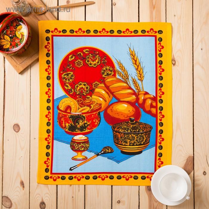 """Полотенце вафельное набивное """"Хлеб соль"""", размер 45х62 см, 160 г/м2, цвет голубой микс"""
