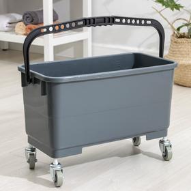 Ведро пластиковое для мытья окон на колесах, 24 литра, 56×29×34 см