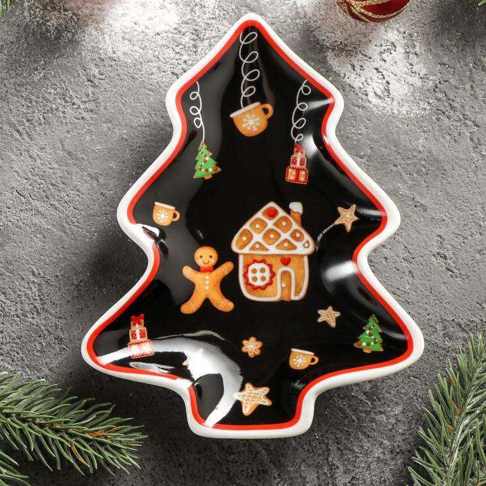 Блюдо сервировочное Доляна «Новый год. Пряничное волшебство», 14×11×2 см
