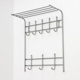 Вешалка настенная с полкой на 8 крючков, 60×25×74,5 см, цвет серебро