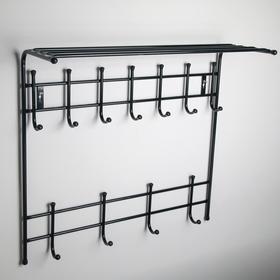 Вешалка настенная с полкой на 11 крючков, 74×25×74,5 см, цвет чёрный