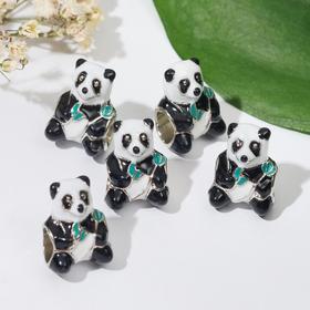 """Талисман """"Панда"""", цветной в серебре"""