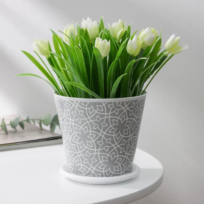 Горшок для цветов Доляна «Кракле», 800 мл, цвет серый