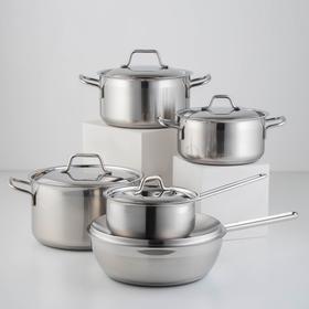 Набор посуды «Крокус Классика», 5 предметов: ковш 1 л, кастрюли 2 л, 3 л, 4 л, сковорода d=28 см