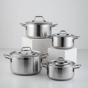 Набор посуды «Крокус Классика», 4 предмета: кастрюли 1,5 л, 2 л, 3 л, 4 л
