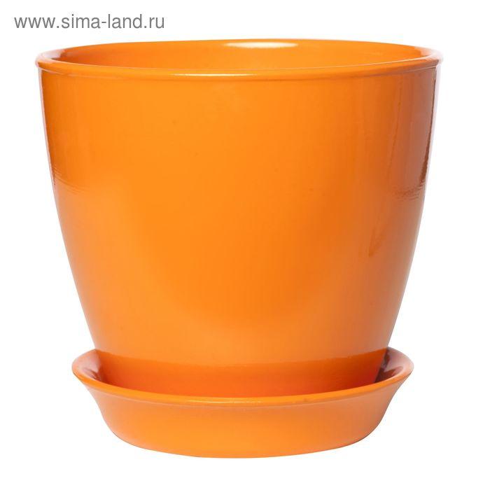 """Кашпо """"Виктория"""" глянец, оранжевое, 0,6 л"""